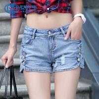 【1件7折 2件6折】季韩版新款修身牛仔裤女开叉磨白弹力破洞显瘦牛仔短裤女潮