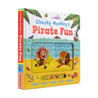 Cheeky Monkey's Pirate Fun 小猴子的海盗之旅 故事绘本纸板操作书 幼儿英语启蒙认知 儿童英文