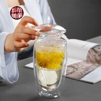 水杯泡茶玻璃过滤喝茶主人杯单杯个性茶道双层功夫茶杯茶水分离器