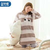 黛梦思珊瑚绒睡衣冬季女可爱韩版女人保暖家居服可外穿法兰绒套装