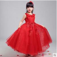 蕾丝钉珠圆领高贵大方儿童蓬蓬裙花童表演服立体花朵公主裙礼服长裙女童婚纱裙