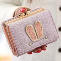 女士钱包女短款日韩版搭扣迷你零钱包可爱卡通兔子耳朵学生皮夹