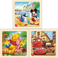 迪士尼拼图玩具 9片木制框拼标准版三合一(米奇2666+维尼2668+赛车2673)