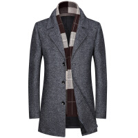2018新款秋冬外套男加绒加厚呢子大衣男士中长款风衣韩版修身帅