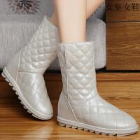 平底女靴子 新款切尔西短靴2019女皮毛一体女棉鞋马丁靴女英伦风秋季学生冬季加绒保暖学院风短筒皮靴