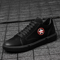品牌休闲皮鞋男鞋春季男式韩版潮鞋耐脏透气百搭嘻哈板鞋男全黑 黑色