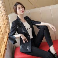 西装外套女韩版2019秋季女士修身休闲时尚印花黑色小西服