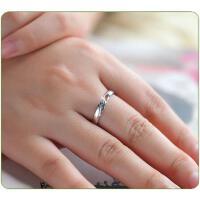 韩版男女情侣戒指爱的密语925情侣对戒 创意银饰品指环