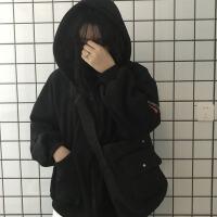 秋冬女装韩版BF风宽松字母绣花加绒加厚连帽超火卫衣开衫上衣外套 均码
