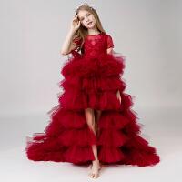 儿童礼服女童公主裙拖尾童模小主持人走秀钢琴演出服花童礼服女秋