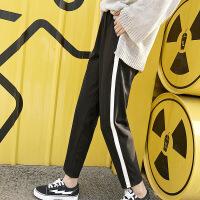 春季女装精品侧条休闲裤学生运动直筒卷边裤子 侧白条 M