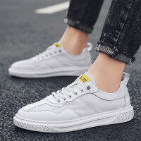 2019夏天男士小白鞋的鞋子网红款夏季男鞋透气薄款学生不系带懒人板鞋子白色