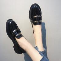 小皮鞋女英伦风学院黑色2019春季新款韩版百搭中跟粗跟学生单鞋女 黑色