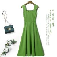 2019夏装牛油果绿连衣裙小清新收腰浅绿裙子森女抹茶绿色吊带裙