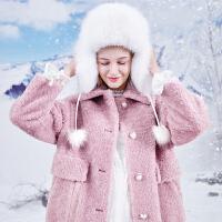 三彩2019冬季新款亮丝羊毛皮草大衣宽松中长款保暖环保皮草外套女