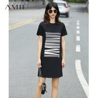【AMII 超级品牌日】Amii[极简主义]夏装2017新款短袖线条印花休闲T恤连衣裙11722115
