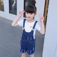 女童背带裤夏装套装2018新款韩版女孩牛仔短裤套装夏季儿童背带裤 蓝色 【送白色短袖】