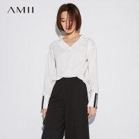 Amii极简港风复古纯棉衬衫女2018秋款气质V领套头拼接长袖上衣潮