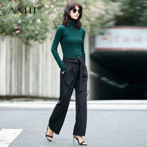 Amii[极简主义]秋装2017新纯色高腰绑带宽松阔腿休闲长裤11794527