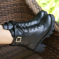 秋冬女靴子欧美英伦风粗跟高跟鞋时尚圆头系带防水台短靴马丁靴 黑色