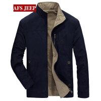 战地吉普AFS JEEP秋冬新款休闲立领马甲 修身大码男士夹克外套
