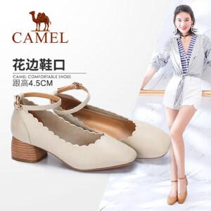 Camel/骆驼女鞋 2018春季新款 甜美粗跟单鞋女简约方头腕带中跟鞋