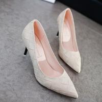 2019春秋新款女鞋子尖头单鞋中跟女士皮鞋黑色高跟鞋细跟优雅职业