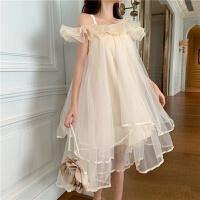 裙子仙女超仙森系夏装性感一字肩连衣裙网纱吊带 白色 均码