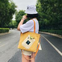 女式斜挎包大 韩版帆布包简约单肩斜挎时尚包日系大包购物袋