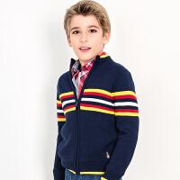 【4折价:150.08元】暇步士童装男童开身针织衫冬装新品上衣中大童拉链毛衣外套