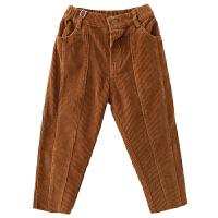 儿童长裤男童灯芯绒休闲裤纯色直筒日系百搭
