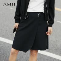 Amii秋装新款时尚帅气盖式贴袋毛边半身裙.