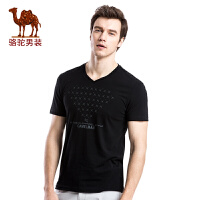 骆驼男装 印花烫钻V领休闲棉质2017夏季新款时尚短袖T恤衫