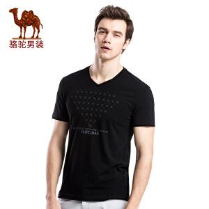 骆驼男装 印花烫钻V领休闲棉质夏季新款时尚短袖T恤衫