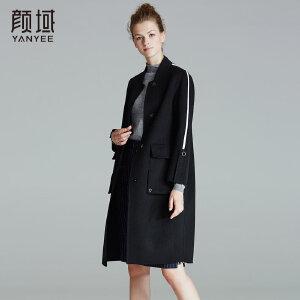 品牌女装2017冬装新款欧美时尚小翻领宽松保暖中长款羊毛大衣外套