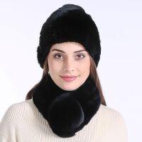 冬季带毛球皮草毛毛帽子女冬天时尚保暖濑獭兔毛毛领百搭围脖套装