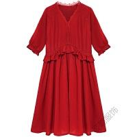 大码女装胖妹妹微胖遮肚子连衣裙减龄藏肉夏季2018长裙子 酒红色