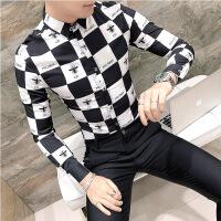 №【2019新款】2019春季新款男衬衫格子印花男士衬衣长袖修身韩版潮流寸衫
