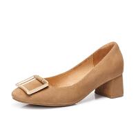 Camel/骆驼女鞋 2018春季 通勤方头单鞋女金属扣复古粗跟浅口鞋