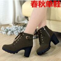时装靴女高跟鞋女粗跟2019秋冬新款靴子女学生韩版女士妈妈短靴女 36 标准