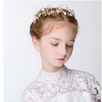 新年时尚女童公主发饰 儿童头饰黄色水晶发箍 花童头饰珍珠头箍