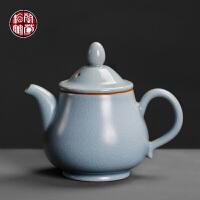 天青汝窑茶壶大号陶瓷家用复古小单壶开片可养中式泡茶器功夫茶具