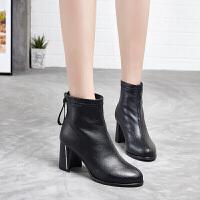 新款马丁短靴女粗跟方头低帮靴子英伦高跟加绒短靴学生百搭 金凯特811127黑色