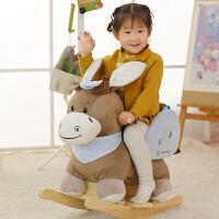 毛绒音乐摇马宝宝实木摇椅婴儿木马玩具周岁生日礼物