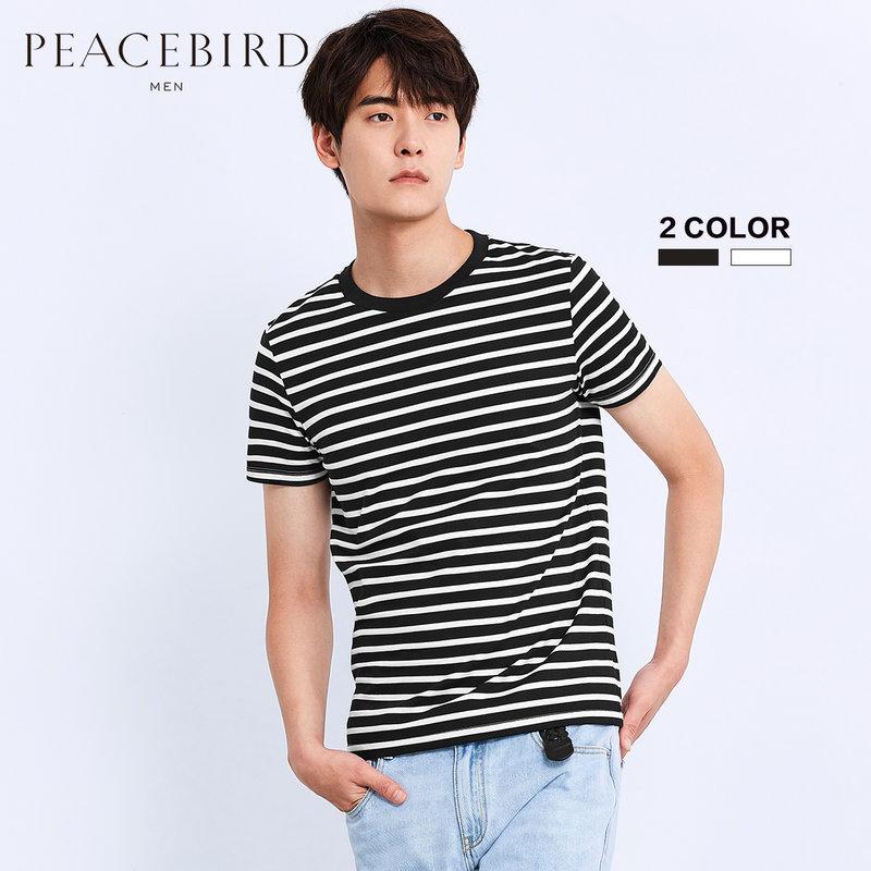 太平鸟男装 短袖男夏季新品条纹T恤纯棉圆领短袖青年体恤打底衫 双色可选 条纹拼接设计 100棉