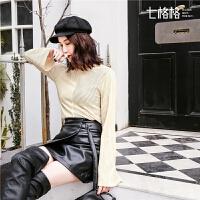 七格格t恤女装新款秋冬高领打底衫韩版休闲修身显瘦长袖上衣
