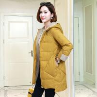 女士冬季棉衣2018新款女中长款韩版加厚百搭时尚棉袄冬季外套 黄色 M