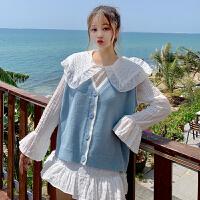 很仙的套装春装女2019新款韩版娃娃领衬衫针织马甲网红时尚两件套