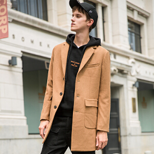 【2件3折价242.7元】唐狮秋冬新款呢子大衣男士中长款宽松潮青年学生羊毛呢外套