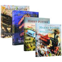 Harry Potter 哈利波特1-4 英文原版 精装彩绘插图收藏版 哈利波特与魔法石 密室 阿兹卡班的囚徒 艺术画册